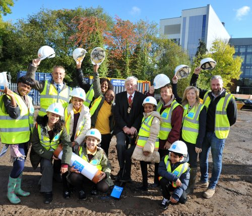 Bupa Care Home Ground Breaking Ceremony, Birmingham. Deputy Lord Mayor of Bimingham Cllr Raymond Hassall pictured with pupils from Oasis Academy and Stakeholders. 19.10.16